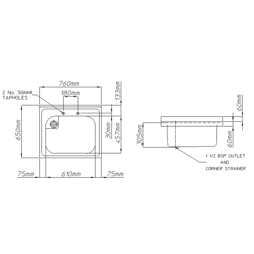 Rhone catering 650mm projection sink-2441