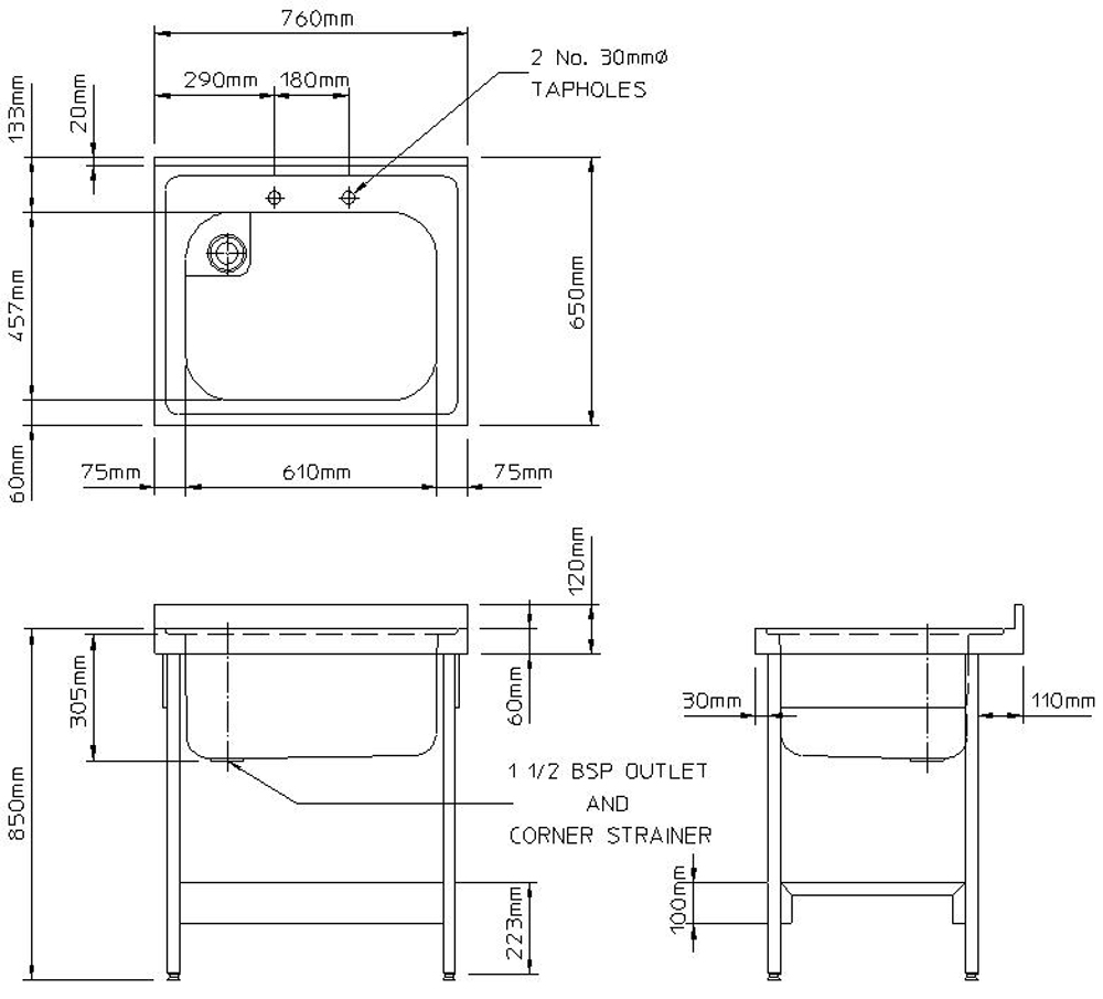 Rhone catering 650mm projection sink and stand-2424