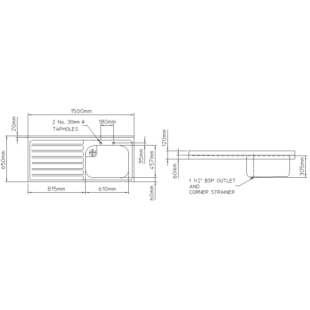 Rhone catering 650mm projection sink-2443