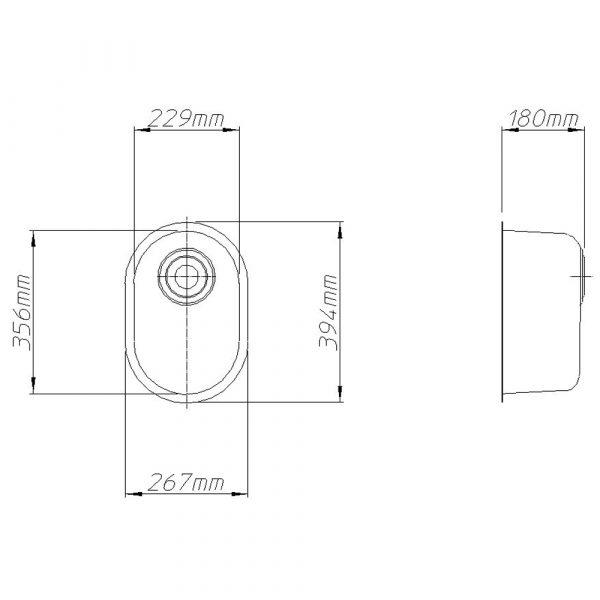 Volnay Flat Flange Bowl 229mm x 356mm x 180mm deep-2255
