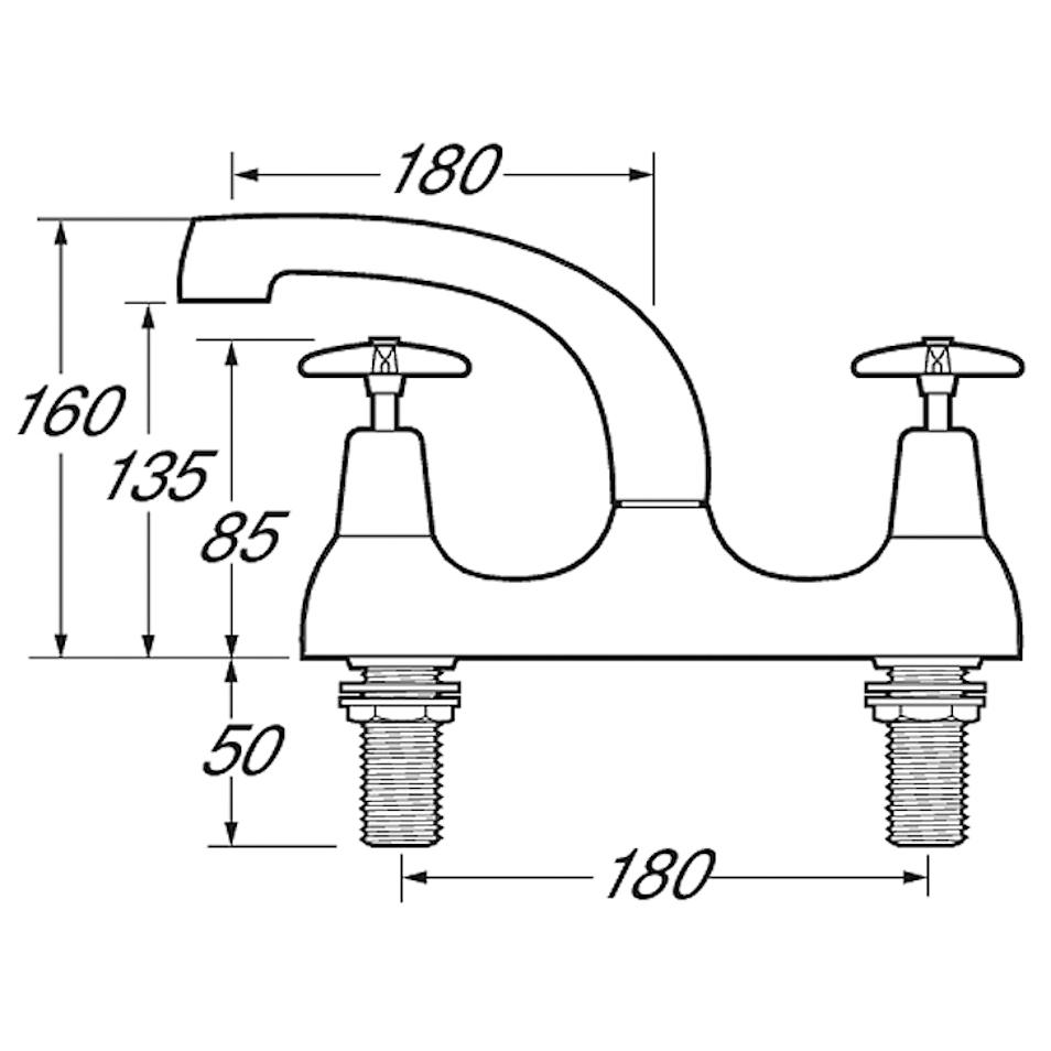 Worth deck mixer cross head taps-1715