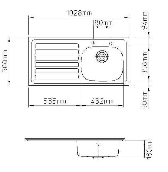 Ibiza 1028mm x 500mm, left hand drainer-2458