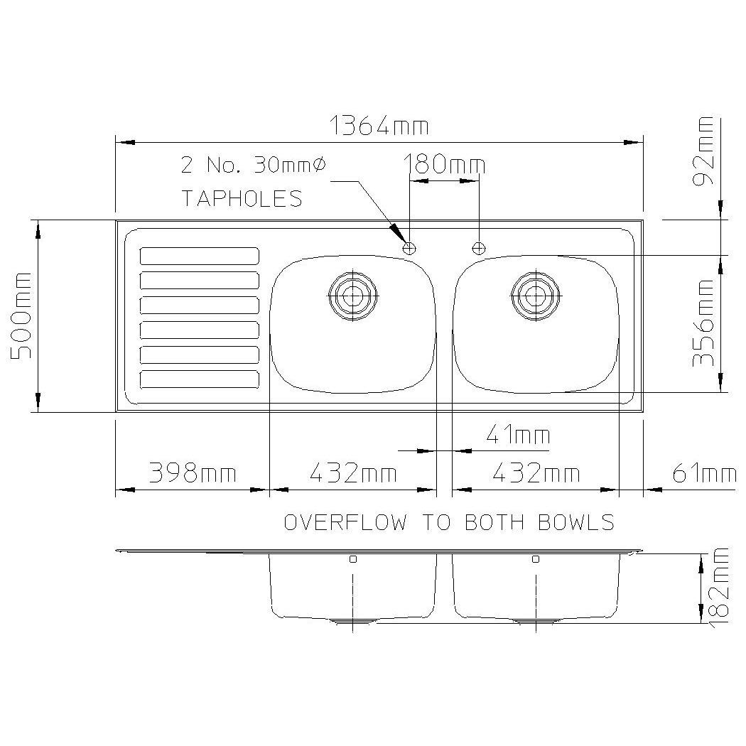 Ibiza 1364mm x 500mm, left hand drainer-2466