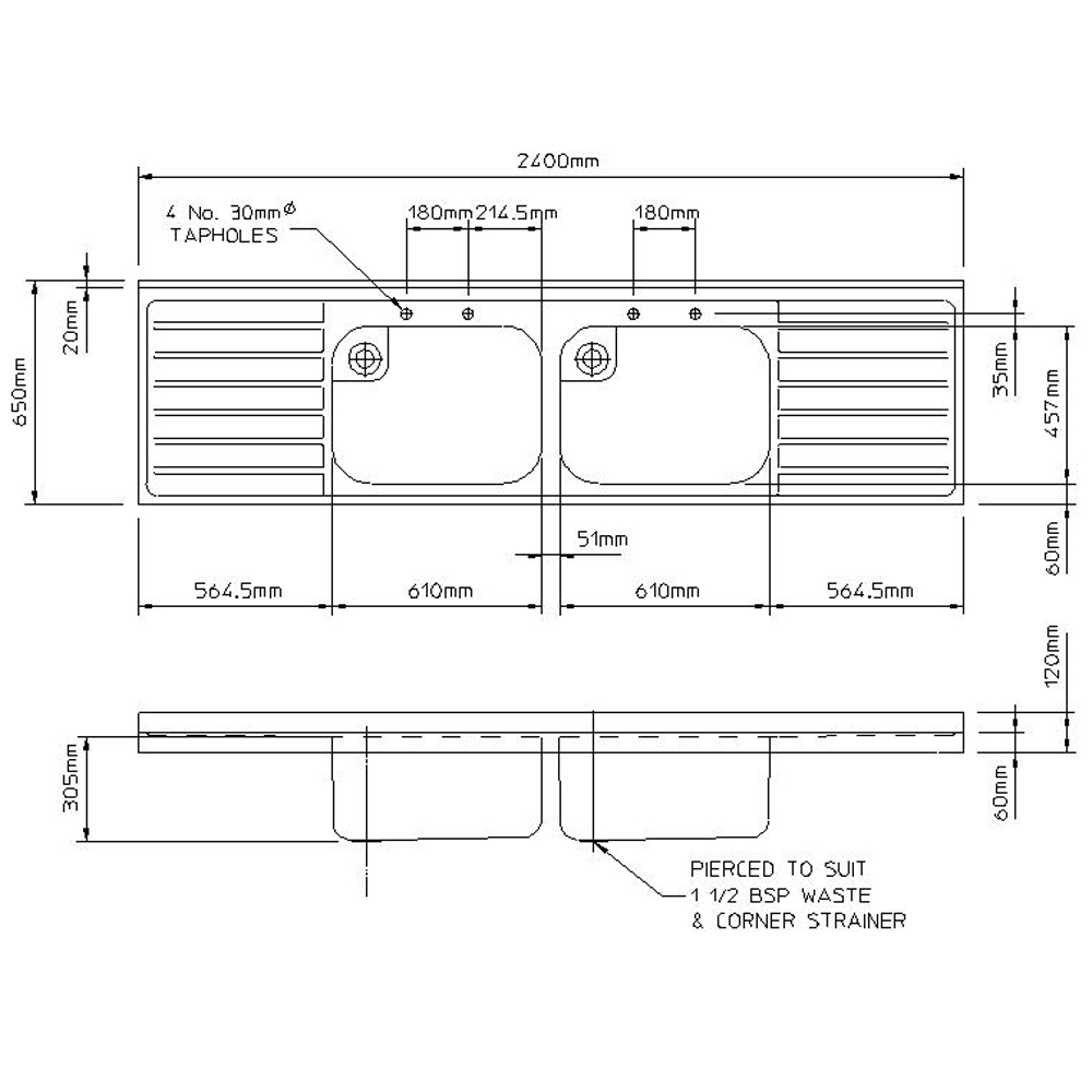 Rhone catering 650mm projection sink-2450